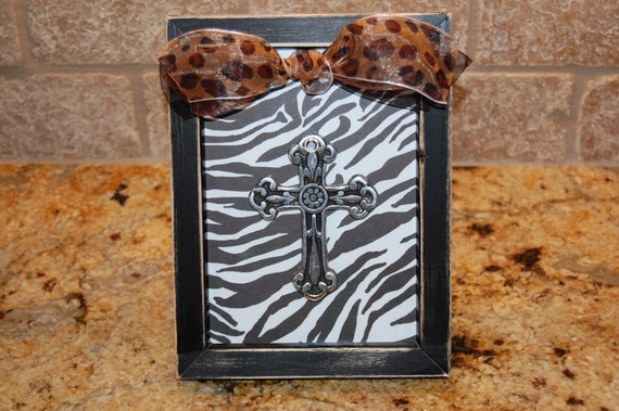 Zebra Cross Embellished with Leopard print ribbon-5x7