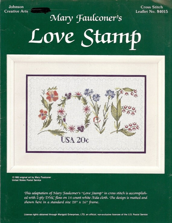 Vintage Cross Stitch Pattern for the Mary Faulconer Love Stamp, 1981, Johnson Creative Arts 84015