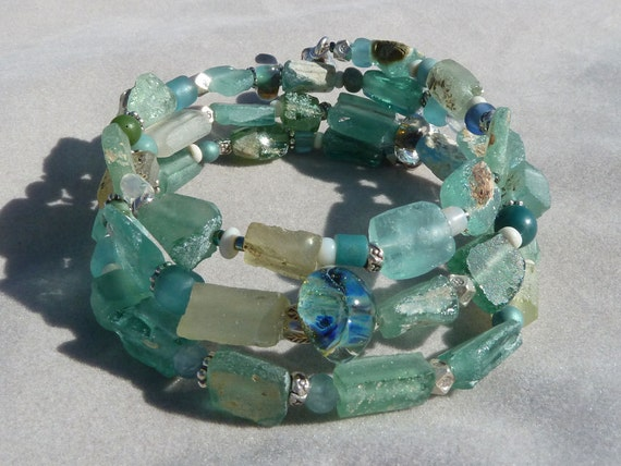 Ancient Roman Glass Triple Wrap Bracelet in Aqua and Seafoam Green