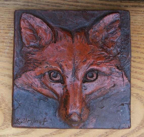 Red Fox Head Face Wall Art Tile Plaque Original Relief
