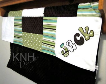 Personalized Children's Minky Quilt with Applique in White, Green Dot and Aqua Stripes, boy baby blanket, crib blanket, toddler patch quilt