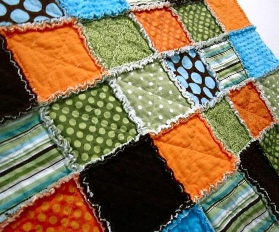 Toddler Rag Quilt, Crib Quilt - 36 x 42 Fall Play Rag Quilt, boy crib quilt, baby blanket, toddler blanket - READY TO SHIP