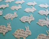 24 Little Recycled Book Page BUNNY Paper Embellishments