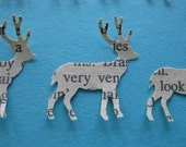 24 small recycled book page Deer Silhouette Paper Embellishments