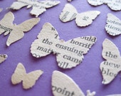 50 assorted Butterfly Recycled Book Page Paper Embellishments