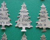 24 Recycled Book Page PINE TREE Paper Embellishments