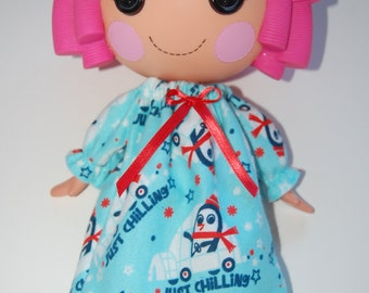 Doll Clothes for Lalaloopsy - Light Blue Just Chilling Penguin print flannel Nightgown - tkct042