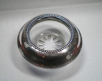 Glass Open Salt with Silver Rim / Pressed glass / Art Deco / Salt cellar / salt dip / sterling silver