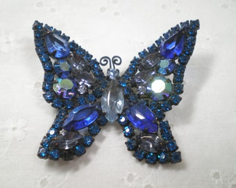 Weiss Rhinestone Pin / Butterfly Brooch with Multicolored Blue Stones / Vintage Weiss Pin / gift / something blue / Mother of the Bride