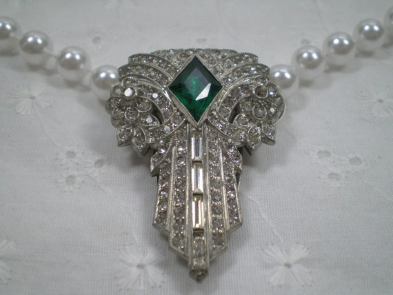 Art Deco Necklace, Upcycled Handmade, Spring SALE