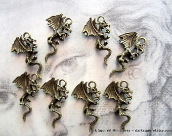 8 pcs 3 D Flying Dragon Charms in  Antique Bronze  27mm X 18mm