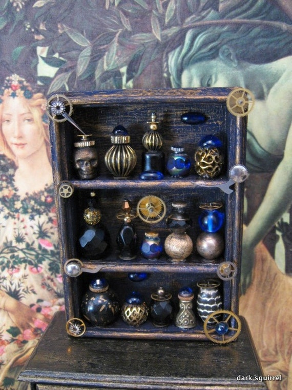 Witches Apothecary  Mini Cupboard OOAK in 1/12 scale by Dark Squirrel Victoria