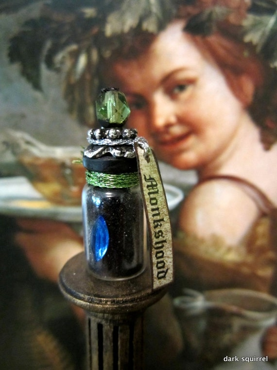 Monkshood - werewolf protection potion bottle dollhouse miniature in one inch scale