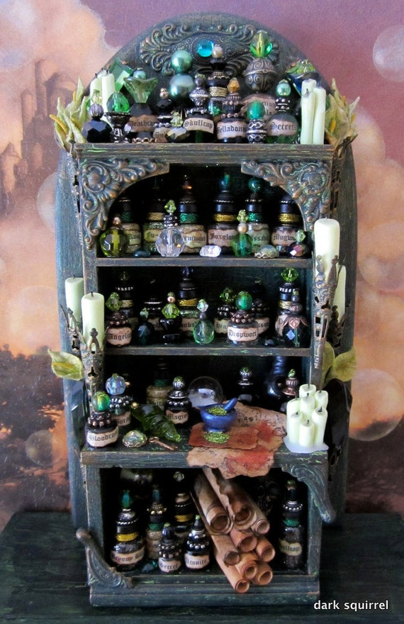 Witch 39 s envy a ooak potion cupboard in 1 12 scale by dark for Pagan decorations for the home