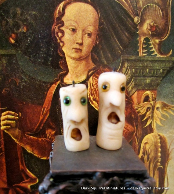 Spooky Face Candles OOAK dollhouse miniature in one inch scale