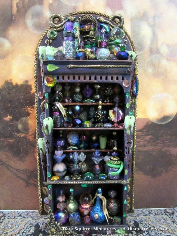 The Snake Charmer Potions Cupboard OOAK dollhouse miniature in one inch scale