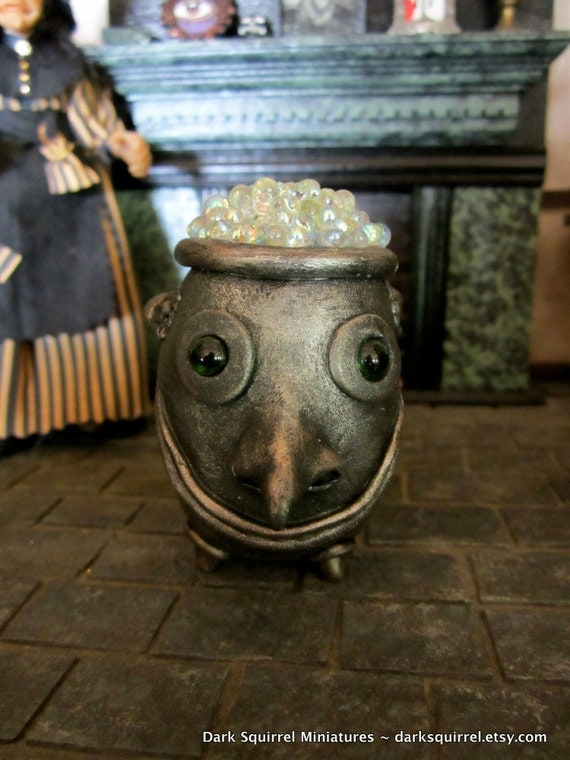 Enchanted Boiling Cauldron OOAK dollhouse miniature in one inch scale