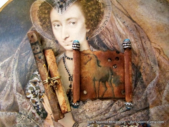 Aged Unicorn Scroll set dollhouse miniature in one inch scale