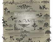 Embellishment SVG Files - Ai, Eps, Svg, Gsd - Embellishment Vector Files - Flourish Cuttable Svg - Embellishment Designs for Vinyl Cutters