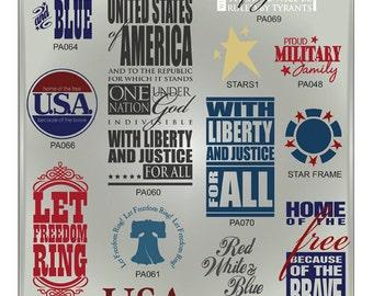 Patriotic CUTTABLE SVG Vector Files - Eps, Ai, Gsd, Svg - Patriotic Word Art Digital Cut File for Vinyl Cutters - America Vector File