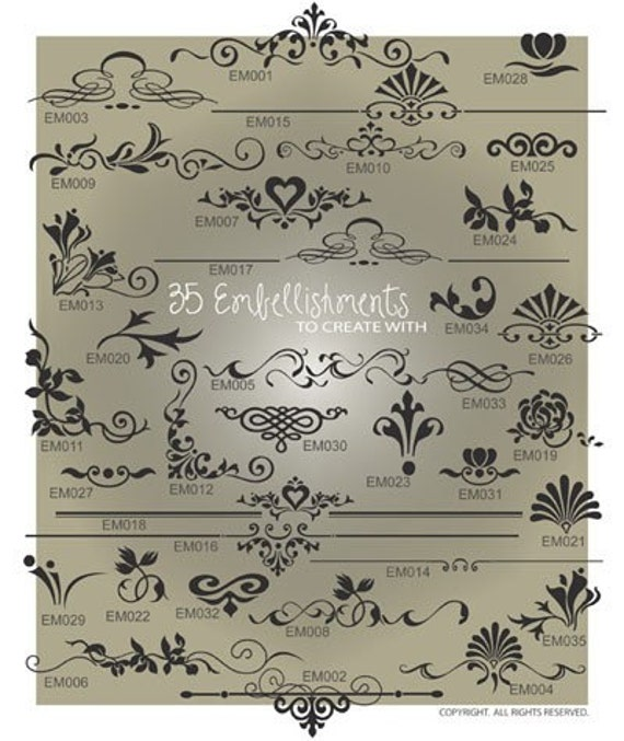 Embellishment SVG Files - Ai, Eps, Svg, Gsd - Embellishment Vector Files - Flourish Cuttable Svg - Embellishment Designs for Vinyl Cutters