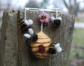 Honey Bees With Hive - Wool Felt Brooch