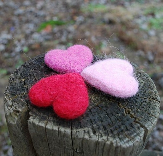 Lavender Sachets Needle Felted Wool Heart-- Happy Valentine's Day (Pink Series)