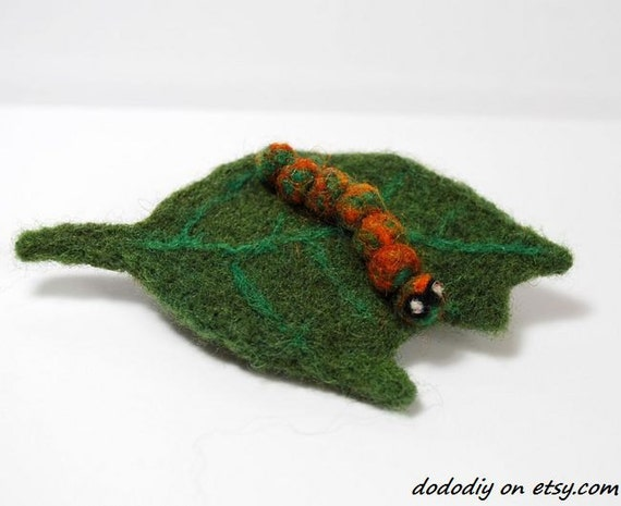Hungry Caterpillar Wool Felt Brooch --- Peppermint scented