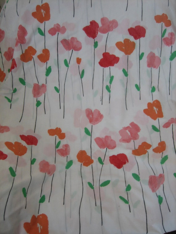 Vintage Fab Vera 'Poppy' Print Bed Sheet in Queen.