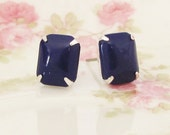 Silver Navy Blue Earrings - Vintage Navy Blue Jewel Silver Plated Post Earrings - Wedding, Bridal, Bridesmaid, Preppy