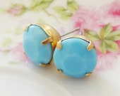 Vintage Turquoise Blue Round Faceted Glass Rhinestone Post Earrings
