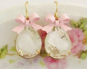 Vintage Crystal Clear White Givre Pear Shaped Rhinestone and Pink Bow Dangle Earrings