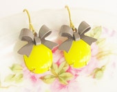 Yellow Jewel and Gray Bow Dangle Earrings - Vintage Glass Jewel - Wedding, Bridesmaid, Bridal, Preppy Petite Earrings