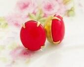 Chunky Cherry Red Post Earrings - Vintage Glass Jewel Surgical Steel Post Earrings - Wedding, Bridal, Bridesmaid, Preppy, Valentine