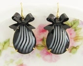 Vintage Black and White Zebra Stripe Pear Shaped Jewel and Black Enamel Bow Dangle Earrings