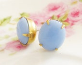 Chunky Vintage Periwinkle Blue Oval Glass Jewel Surgical Steel Post Earrings