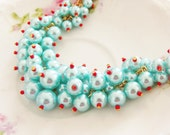 Aqua Blue Glass Pearl Cluster Necklace with Cherry Red Accents