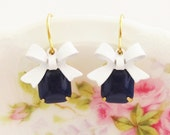 Vintage Navy Blue Jewel and White Enamel Bow Dangle Earrings