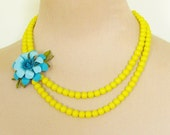 Vintage Aqua and Turquoise Blue Enamel Flower Asymmetrical Double Strand Bright Yellow Glass Beaded Statement Necklace OOAK