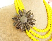 Yellow and Gray Statement Necklace - Vintage Gray Enamel Flower Asymmetrical Sunny Yellow Glass Beaded Triple Strand Statement Necklace OOAK