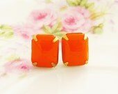 Vintage Tangerine Orange Rectangle Glass Jewel Surgical Steel Post Earrings