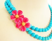 Vintage Enamel Flower Necklace Raspberry Pink Flowers Asymmetrical Double Strand Turquoise Howlite Beads One of a Kind Gold Accents