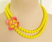 Vintage Enamel Flower Necklace Neon Pink and Yellow Asymmetrical Double Strand Glass Beaded Statement Necklace
