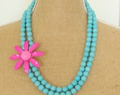 SALE 50% 0FF Vintage Enamel Flower Necklace Hot Fuchsia Pink Daisy Double Strand Turquoise Howlite Beaded Statement Necklace OOAK Neon