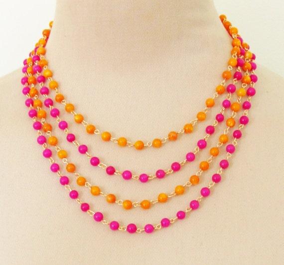 Tangerine Orange and Fuschia Pink Multi Chain Beaded Statement Necklace