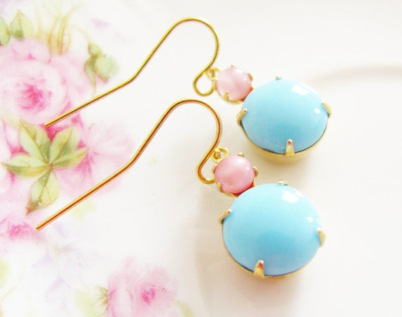 Vintage Aqua Blue Jewel Pale Pink Moonstone Dangle Earrings