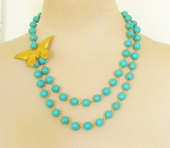 Vintage Gold Butterfly Asymmetrical Double Turquoise Blue Howlite Beaded Statement Necklace - One of a Kind