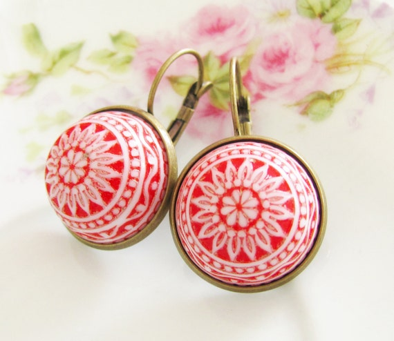Red and White Mosaic Earrings - Vintage Cherry Red and White Mosaic Bohemian Antique Brass Earring Drop Dangles
