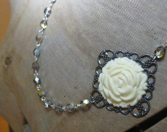 Vintage Rose Necklace in Cream with Marea Czech Glass Beads