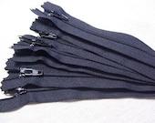 Ten 9 inch Black YKK zippers - Special Pricing